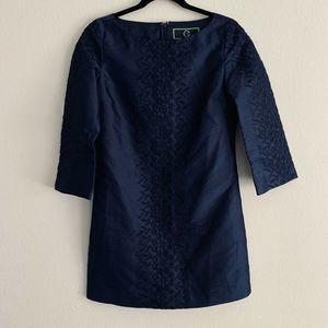 C Wonder Navy Blue 3/4 Sleeve Sheath Dress